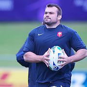 French player Nicolas Mas at the French teams training session at Onewa Domain, Auckland in preparation for the Rugby World Cup Final against New Zealand at the IRB Rugby World Cup tournament, Auckland, New Zealand, 19th October 2011. Photo Tim Clayton...