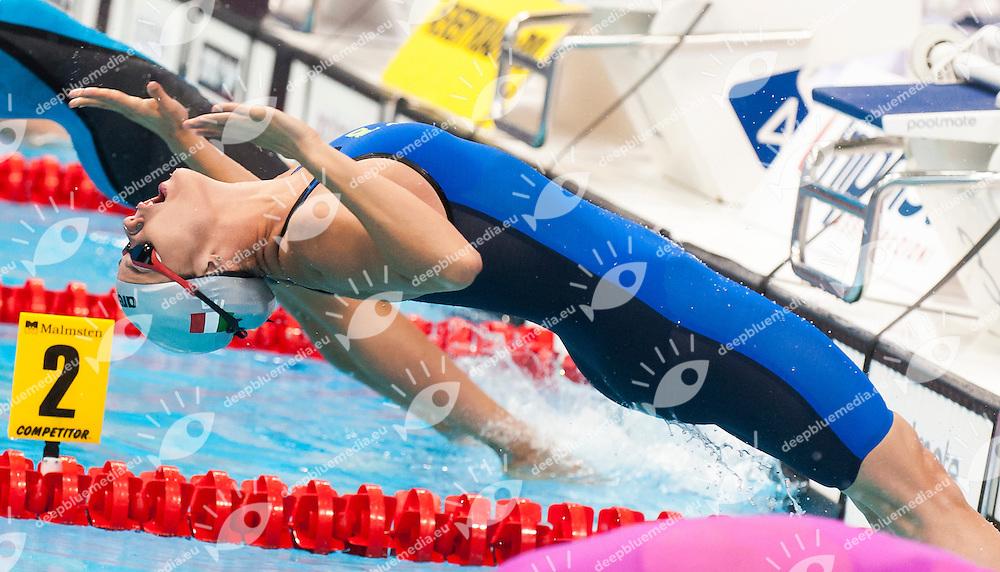 GEMO Elena ITA<br /> London, Queen Elizabeth II Olympic Park Pool <br /> LEN 2016 European Aquatics Elite Championships <br /> Swimming<br /> Women's 50m backstroke semifinal<br /> Day 12 20-05-2016<br /> Photo Giorgio Perottino/Deepbluemedia/Insidefoto