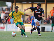 Picture by David Horn/Focus Images Ltd +44 7545 970036<br /> 16/07/2013Matt Lench of Hitchin Town and Ronnie Henry, Captain of Luton Town during the Pre Season Friendly match at Top Field, Hitchin.