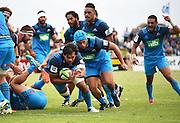 Steven Luatua scores a try during a pre season Super Rugby match. Blues v Storm, Pakuranga Rugby Club, Auckland, New Zealand. Thursday 4 February 2016. Copyright Photo: Andrew Cornaga / www.Photosport.nz