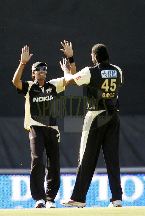 EAST LONDON, SOUTH AFRICA - 1 May 2009. Tge Knight Riders celebrate the wicket of Graham Napier during the  IPL Season 2 match between the Mumbai Indians and the Kolkata Knight Riders held at Buffalo Park in East London. South Africa..