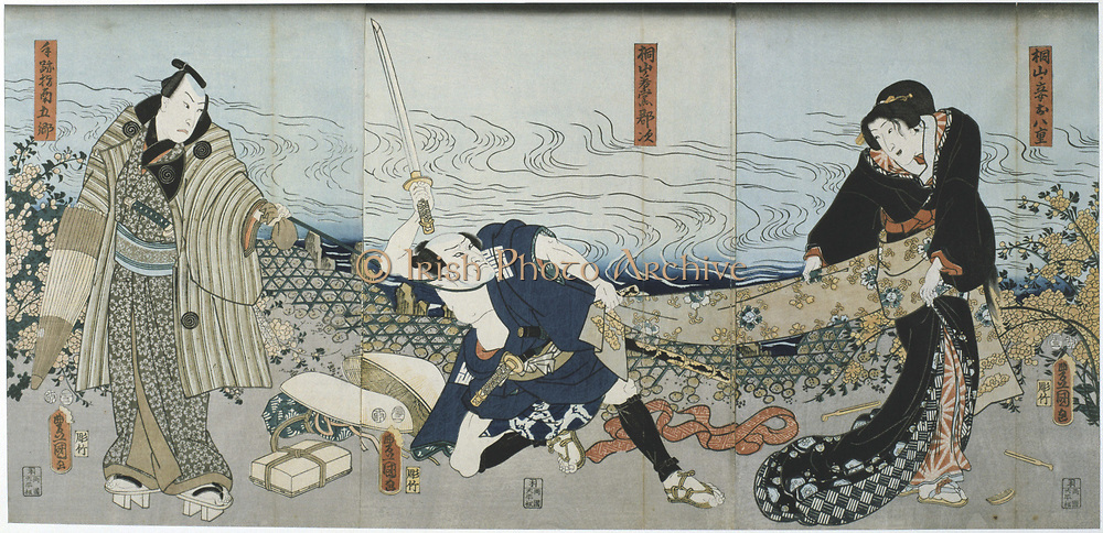 Scene from a Kabuki theatre performance. In this highly stylised Japanese dance-drama,  from 1629 all roles had to be played by men. Those who specialised in female roles were known as onnagata. Utagawa Kunisada (1786-1864) Japanese artist and printmaker. Coloured woodblock print