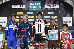 October 7, 2018 - Tours, France - TOURS, FRANCE - OCTOBER 7 : TERPSTRA Niki (NED) of Quick - Step Floors, Marten KOOISTRA NED of SEG Racing Academy, ANDERSEN Soren Kragh of Team Sunweb, COSNEFROY Benoit of AG2R La Mondiale  during the 112th edition of the Paris - Tours Elite cycling race with start in Chartres and finish in Tours on October 07, 2018 in Tours, France, 7/10/2018 (Credit Image: © Panoramic via ZUMA Press)