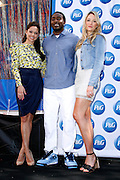 """Vanessa Lachey, Hakim Nicks and Katrina Bowden pose as P&G Launches """"Everyday Effect Campaign"""" in Herald Square in New York City, New York on June 19, 2013."""
