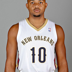Sep 30, 2013; Metairie, LA, USA; New Orleans Pelicans shooting guard Eric Gordon (10) poses for a portrait at Pelicans Practice Facility. Mandatory Credit: Derick E. Hingle-USA TODAY Sports