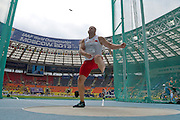 Piotr Malachowski from Poland competes in men's discus throw qualification during the 14th IAAF World Athletics Championships at the Luzhniki stadium in Moscow on August 12, 2013.<br /> <br /> Russian Federation, Moscow, August 12, 2013<br /> <br /> Picture also available in RAW (NEF) or TIFF format on special request.<br /> <br /> For editorial use only. Any commercial or promotional use requires permission.<br /> <br /> Mandatory credit:<br /> Photo by &copy; Adam Nurkiewicz / Mediasport