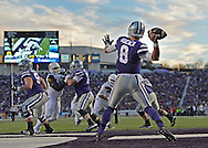 MANHATTAN, KS - DECEMBER 05:  Quarterback Joe Hubener #8 of the Kansas State Wildcats drops back to pass against the West Virginia Mountaineers during the first half on December 5, 2015 at Bill Snyder Family Stadium in Manhattan, Kansas.  (Photo by Peter G. Aiken/Getty Images) *** Local Caption *** Joe Hubener