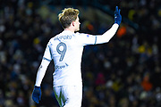 Leeds United forward Patrick Bamford (9) reacts during the EFL Sky Bet Championship match between Leeds United and Millwall at Elland Road, Leeds, England on 28 January 2020.