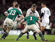 Photo © Colm O'Neill / SECONDS LEFT IMAGES 2010 - South Africa's Juan Smith in action against Cian Healy (1) and Brian O'Driscoll (13) of Ireland - Ireland v South Africa - Guinness Series 2010 - Aviva Stadium - Dublin - Ireland - 06/11/10 - All rights reserved