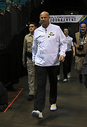 Oregon Ducks head coach Kelly Graves walks onto the court before tipoff of  the championship game of the Pac-12 Conference women's basketball tournament Sunday, Mar. 10, 2019 in Las Vegas.  Stanford defeated Oregon 64-57. (Gerome Wright/Image of Sport)