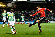 Ander Herrera (21) of Manchester United has his shot blocked by Nathan Smith (3) of Yeovil Town during the The FA Cup 4th round match between Yeovil Town and Manchester United at Huish Park, Yeovil, England on 26 January 2018. Photo by Graham Hunt.