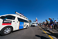 Teams arriving at Stage 1, Port Adelaide to Lydoch, of the Tour Down Under, Australia on the 16 of January 2018 ( Credit Image: © Gary Francis / ZUMA WIRE SERVICE )
