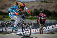 Women Junior #114 (RUARTE Constanza Del Valle) ARG at the 2018 UCI BMX World Championships in Baku, Azerbaijan.
