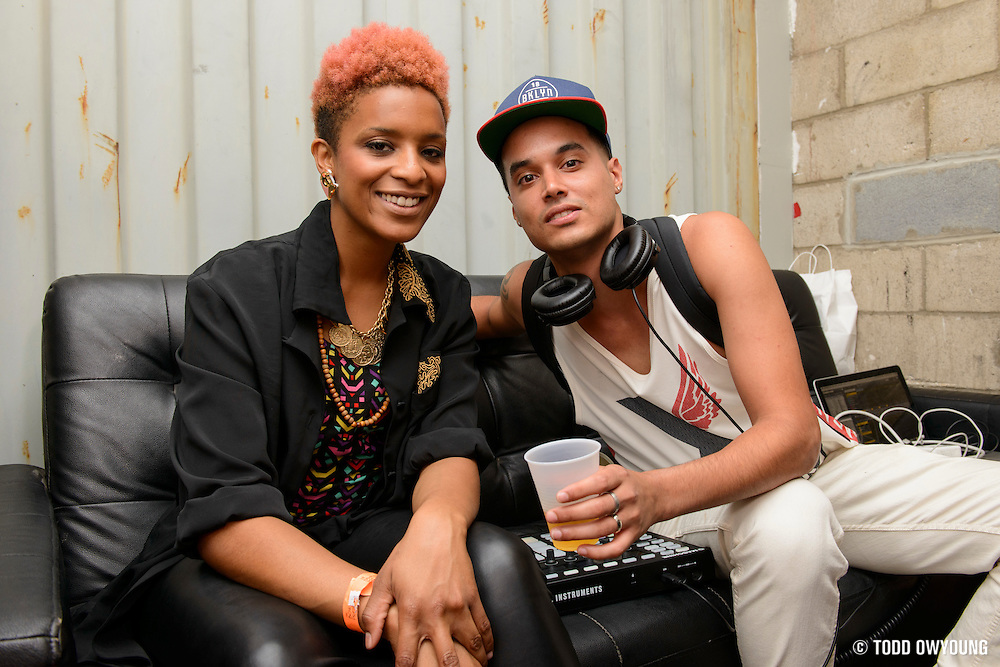 Denitia and Sene pose for a portrait backstage before performing at the Red Bull Sound Select at Rough Trade in New York City on July 15, 2014.