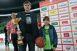 Trophy ceremony before basketball match between KK Union Olimpija and KK Krka in 2nd Final match of Telemach Slovenian Champion League 2011/12, on May 20, 2012 in Arena Stozice, Ljubljana, Slovenia. Krka defeated Union Olimpija 75-65. (Photo by Grega Valancic / Sportida.com)