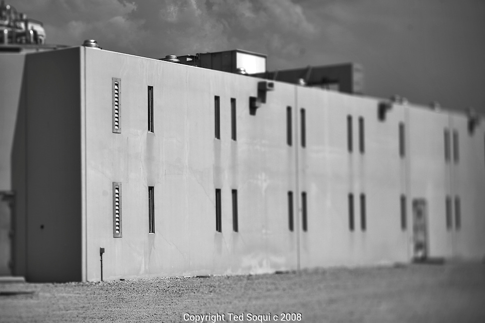 Outside view of an inmate housing unit..California State Prison, Los Angeles County.