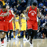 18 November 2016: Toronto Raptors guard Kyle Lowry (7) celebrates with Toronto Raptors guard DeMar DeRozan (10) during the Toronto Raptors 113-111 OT victory over the Denver Nuggets, at the Pepsi Center, Denver, Colorado, USA.