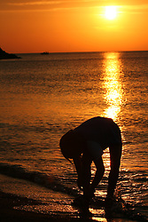 Silhouette of little girl picking up stones on beach at sunset