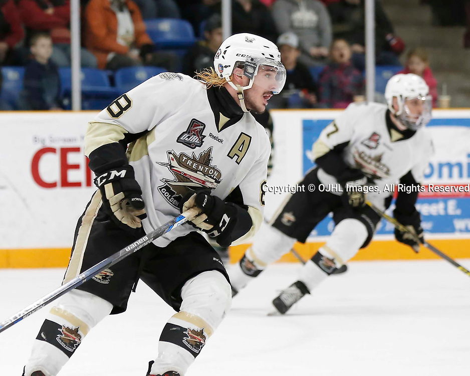 TRENTON, ON - MAR 31,  2017: Ontario Junior Hockey League, North East Conference Championship game between Trenton Golden Hawks and the Cobourg Cougars., Liam Morgan #8 of the Trenton Golden Hawks during the third period<br /> (Photo by Amy Deroche / OJHL Images)