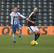 Dundee&rsquo;s Gary Harkins and Kilmarnock&rsquo;s Craig Slater - Kilmarnock v Dundee, Ladbrokes Premiership at Rugby Park<br /> <br />  - &copy; David Young - www.davidyoungphoto.co.uk - email: davidyoungphoto@gmail.com