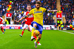 Mateusz Klich of Leeds United attempts to clear from an attacking Will Vaulks of Rotherham United - Mandatory by-line: Ryan Crockett/JMP - 26/01/2019 - FOOTBALL - Aesseal New York Stadium - Rotherham, England - Rotherham United v Leeds United - Sky Bet Championship
