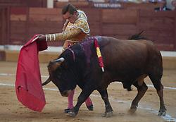 The 3 Bullfighters Juan Bautista, Fernando Robleno and Juan del Alamo bullfight 6 bulls at La Estudiantil Bullfight round (Plaza de Toros) in Alcala de Henares into the Saint Bartolome August Fair, Madrid, Spain on Friday, August 30, 2013. Photo by Eduardo Dieguez / DyD Fotografos<br /> SPAIN OUT