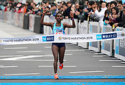 Ruti Aga (ETH) places second in the women's race in 2:21:19 in the Tokyo Marathon in Tokyo, Sunday, Feb. 25, 2018. (Jiro Mochizuki/Image of Sport)