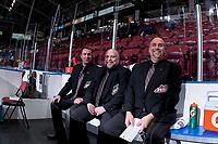KELOWNA, CANADA - NOVEMBER 29: Ice officials sit in the penalty box on November 29, 2017 at Prospera Place in Kelowna, British Columbia, Canada.  (Photo by Marissa Baecker/Shoot the Breeze)  *** Local Caption ***