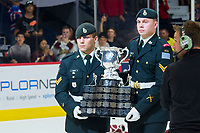 REGINA, SK - MAY 27:  The Memorial Cup is brought to the ice at Brandt Centre - Evraz Place on May 27, 2018 in Regina, Canada. (Photo by Marissa Baecker/CHL Images)