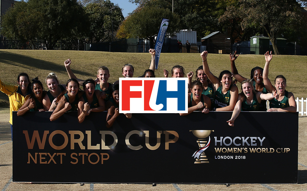 JOHANNESBURG, SOUTH AFRICA - JULY 22:  South Africa players celebrate World Cup qualification on day 8 of the FIH Hockey World League Women's Semi Finals 5th/ 6th place match between Japan and South Africa at Wits University on July 22, 2017 in Johannesburg, South Africa.  (Photo by Jan Kruger/Getty Images for FIH)
