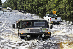 September 4, 2017 - Port Arthur, Texas, U.S. - Soldiers drive on flooded roads as they continue rescue missions in Port Arthur, Texas. The soldiers are assigned to the Texas Army National Guard. (Credit Image: ? Melisa Washington/Army via ZUMA Wire/ZUMAPRESS.com)