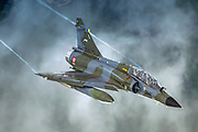 France Air Force MIRAGE 2000 in flight. Photographed at Royal International Air Tattoo (RIAT)