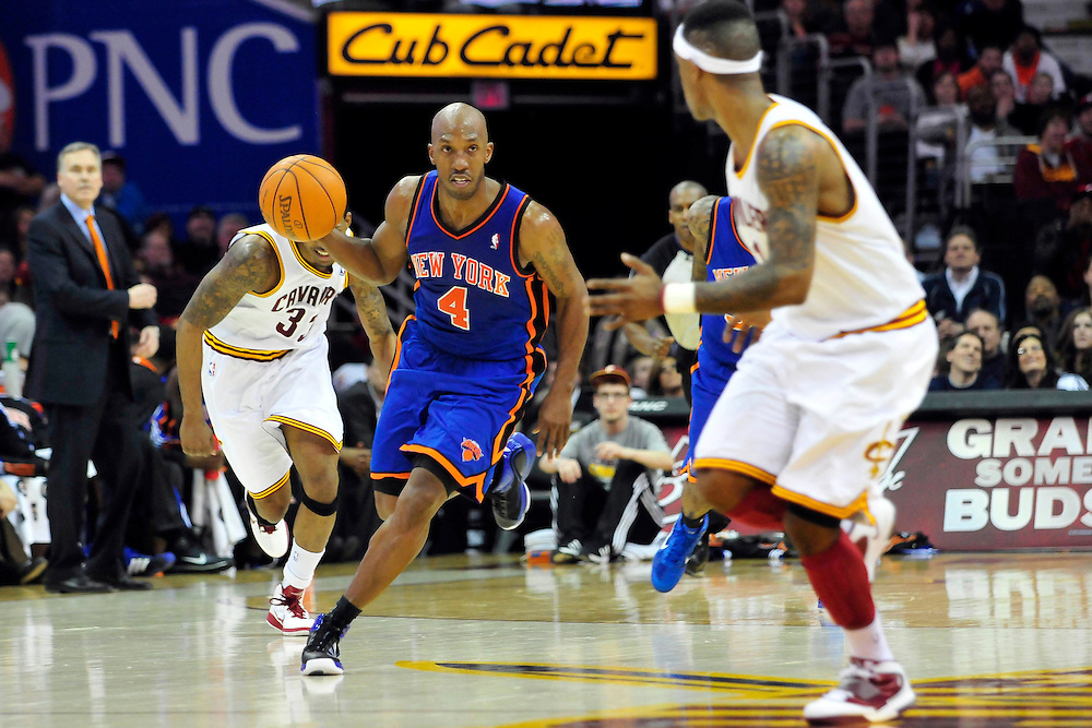 Feb. 25, 2011; Cleveland, OH, USA; New York Knicks point guard Chauncey Billups (4) drives down court during the fourth quarter against the Cleveland Cavaliers at Quicken Loans Arena. The Cavaliers beat the Knicks 115-109. Mandatory Credit: Jason Miller-US PRESSWIRE