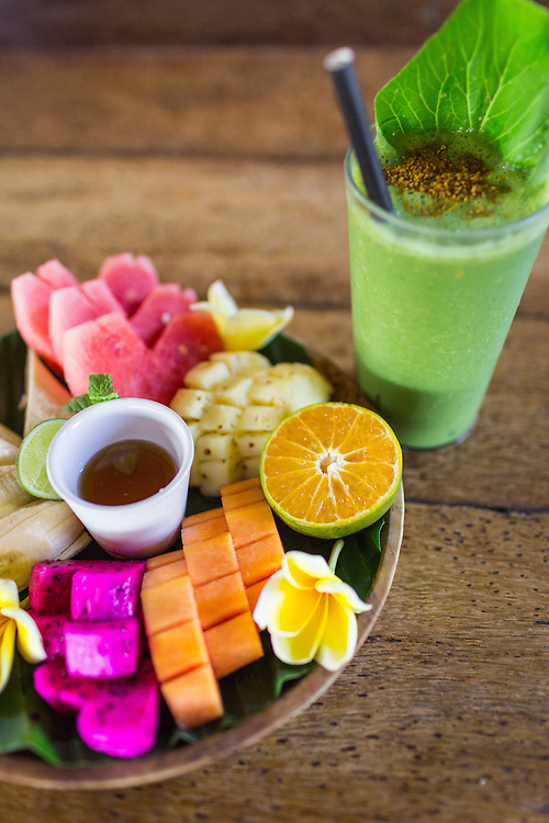 Happy Fruits Salad and Power Smoothie.