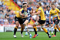 Auguy Slowik of Bristol Rugby takes on the Pirates defence - Photo mandatory by-line: Patrick Khachfe/JMP - Mobile: 07966 386802 21/09/2014 - SPORT - RUGBY UNION - Bristol - Ashton Gate - Bristol Rugby v Cornish Pirates - GK IPA Championship.