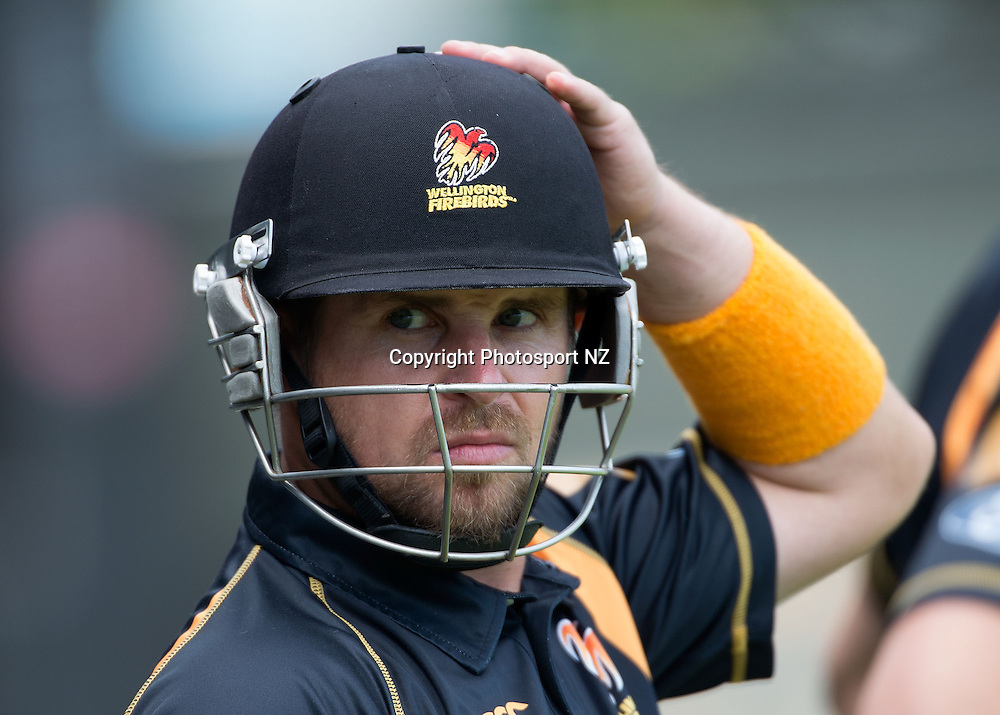Michael Papps of Wellington prepares to bat during the Ford Trophy One Day cricket match between the Wellington Firebirds and Central Districts at the Basin Reserve in Wellington on Sunday the 23rd March 2014.  Photo by Marty Melville/Photosport.co.nz