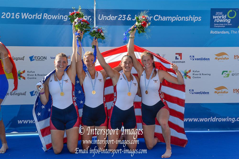 Rotterdam. Netherlands. USA BW4-. Gold medalist. Bow. <br /> Kendall BREWER, Gia<br /> DOONAN,  Regina<br /> SALMONS, Sarah DOUGHERTY,   2016 JWRC, U23 and Non Olympic Regatta. {WRCH2016}  at the Willem-Alexander Baan.   Thursday  25/08/2016 <br /> <br /> [Mandatory Credit; Peter SPURRIER/Intersport Images]