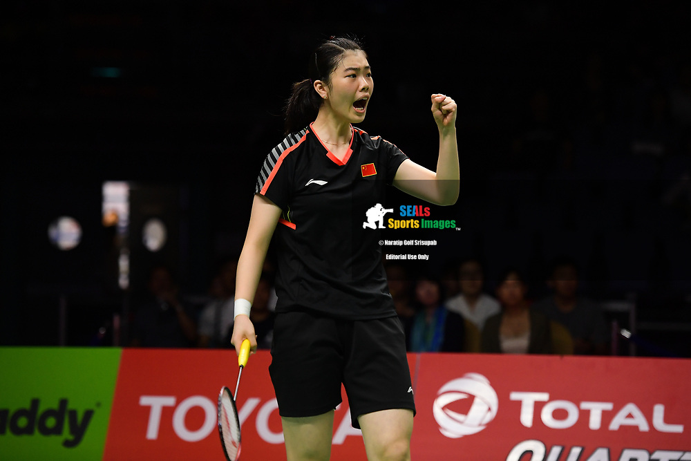 BANGKOK, THAILAND - MAY 25: Gao Fangjie of China reaction on Court 1 during her Semi-Finals match against Nitchaon Jindapol of Thailand at the BWF Total Thomas and Uber Cup Finals 2018, Impact Arena , Bangkok, Thailand on May 25, 2018.<br /> .<br /> .<br /> .<br /> Photo by: Naratip Golf Srisupab/SEALs Sports Images<br /> <br /> .<br /> All photo must include a credit line adjacent to the content: Naratip Golf Srisupab/SEALs Sports Images