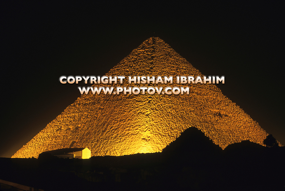The Great Pyramid of Cheops illuminated at night, Giza, Egypt