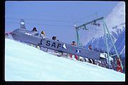 Dangerous Sports Club ski race. St. Moritz. 1984.<br />© Copyright Photograph by Dafydd Jones<br />66 Stockwell Park Rd. London SW9 0DA<br />Tel 0171 733 0108