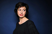 Valerie Bonneton, actrice francaise.<br /> Francois Busnel recoit au theatre du Rond-Point, d'illustres comediens francais pour des lectures de grands textes de la litterature classique et contemporaine. <br /> Paris, FRANCE - 14/11/2011