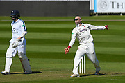 Jack Leach of Somerset bowling during the Specsavers County Champ Div 1 match between Somerset County Cricket Club and Hampshire County Cricket Club at the Cooper Associates County Ground, Taunton, United Kingdom on 26 May 2017. Photo by Graham Hunt.