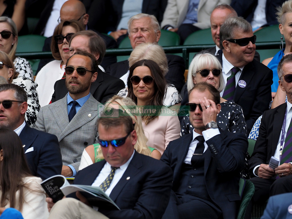 July 8, 2019 - London, England - LONDON, ENGLAND - JULY 08: Pippa Middleton and James Middleton attends day seven of the Wimbledon Tennis Championships at All England Lawn Tennis and Croquet Club on July 08, 2019 in London, England. ...People:  Pippa Middleton and James Middleton. (Credit Image: © SMG via ZUMA Wire)