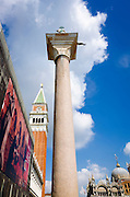 Campanile San Marco (St Mark's Basilica bell tower) and column, Venice, Veneto, Italy
