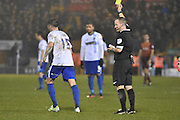 Bury Forward, Ryan Lowez shown a yellow card, booked during the The FA Cup third round match between Bury and Bradford City at Gigg Lane, Bury, England on 9 January 2016. Photo by Mark Pollitt.