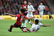 Nathan Ake (5) of AFC Bournemouth battles for possession with Marcus Rashford (19) of Manchester United during the Premier League match between Bournemouth and Manchester United at the Vitality Stadium, Bournemouth, England on 18 April 2018. Picture by Graham Hunt.