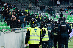 Police secure the area in front of Green Dragons during football match between NK Olimpija and NK Maribor in Prva Liga, March 12, 2011 at SRC Stozice, Ljubljana, SLO. (Photo By Matic Klansek Velej / Sportida.com)