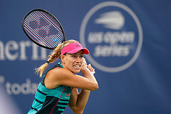 August 15, 2018 - Cincinnati, OH, U.S. - CINCINNATI, OH - AUGUST 15: Angelique Kerber (GER) follows through on a shot during the Western & Southern Open at the Lindner Family Tennis Center in Mason, Ohio on August 15, 2018. (Photo by Adam Lacy/Icon Sportswire) (Credit Image: © Adam Lacy/Icon SMI via ZUMA Press)