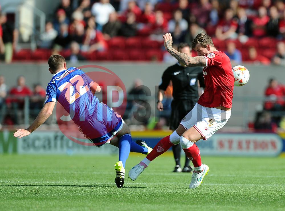 Aden Flint of Bristol City battles for the ball with Jack O'Connell of Brentford  - Mandatory byline: Joe Meredith/JMP - 07966386802 - 15/08/2015 - FOOTBALL - Ashton Gate -Bristol,England - Bristol City v Brentford - Sky Bet Championship