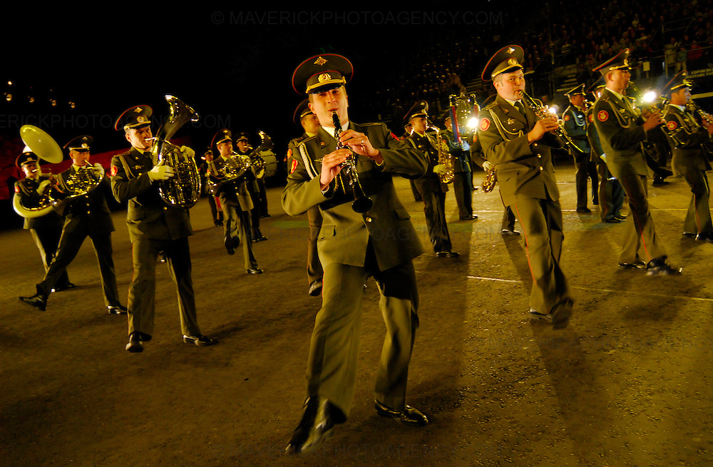 Dancers, musicians,stunt men and women put on a colourful show at the 58th Edinburgh Military Tattoo at Edinburgh Castle Esplanade. The event is the largest gathering of military musicians in the UK with participants from as far a field as Africa, America and Asia. Pictured The Band of The Moscow Military Conservatoire.